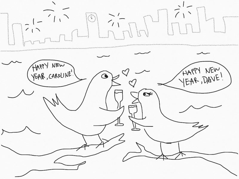 Two birds on new years eve