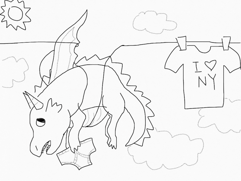 a dragon doing laundry